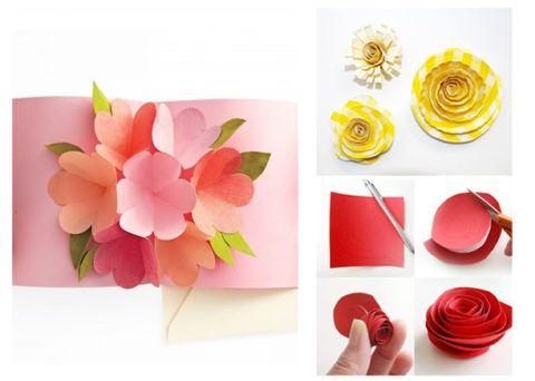 Открытка с объёмными цветами