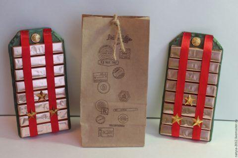Плитки шоколада в интересной подарочной интерпретации