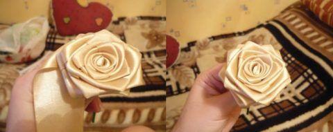 Получаем такую розу и подшиваем