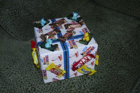 Пример упаковки подарка игрушками
