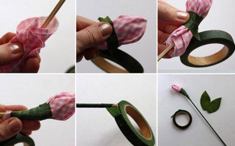 Формирование чашелистика и стебелька. Обматываем зеленым скотчем.