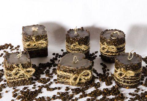 Фото. Свечи с кофейными зернами.