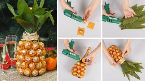 Инструкция как сделать ананас из конфет и шампанского