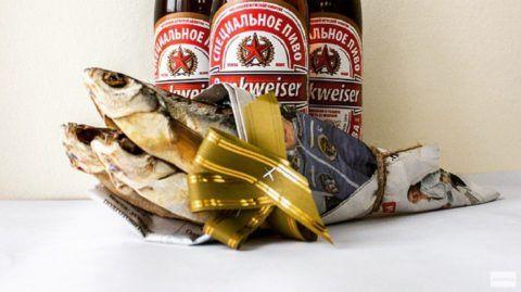 Мужской натюрморт, букет с рыбой и пивом.