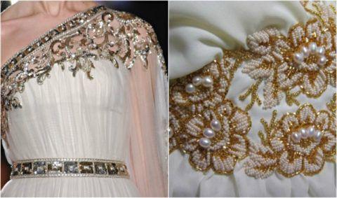 Платье, декорированное бисером