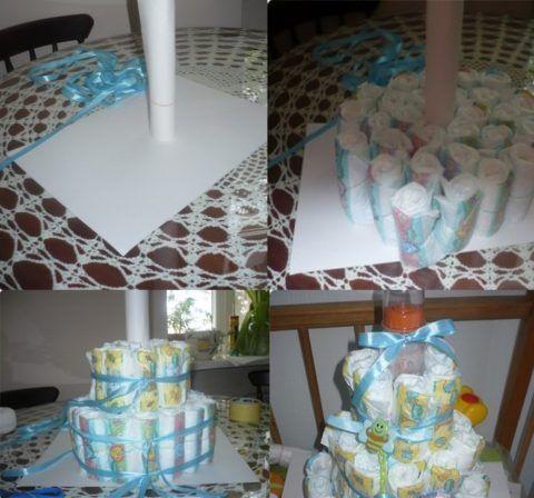 Процесс изготовления торта из подгузников