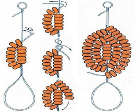 Схема плетения лепестка №3