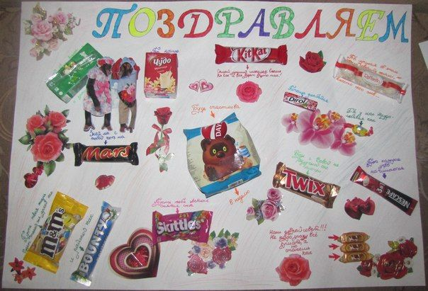Плакат из сладостей на свадьбу