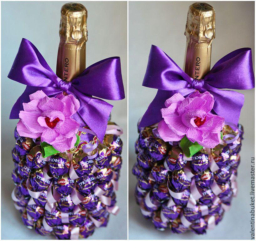 Как украсить бутылку из конфет