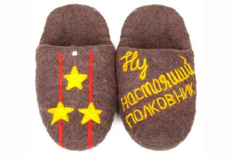 Тапки в подарок на 23 февраля «Настоящий полковник».