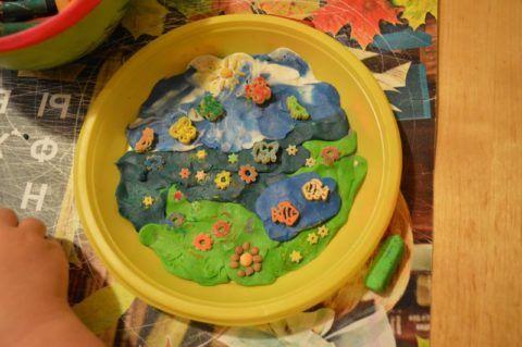 Тарелка с аппликацией из пластилина
