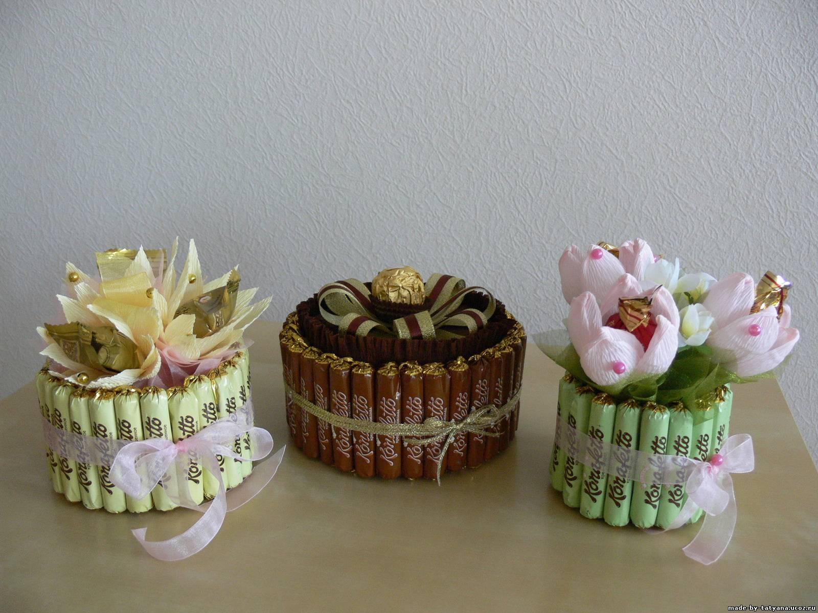 Пироженка из конфет своими руками