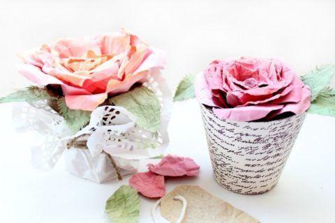 Горшки с цветами из бумаги
