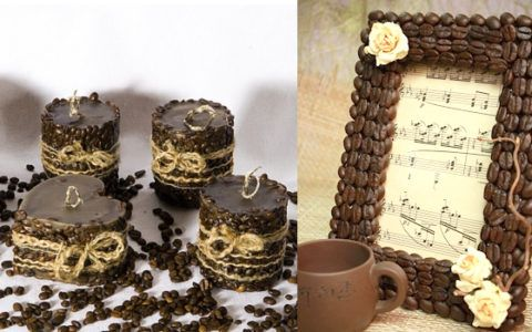 Изделия с использованием зерен кофе в подарок.