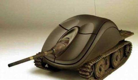 Компьютерная мышка в виде танка.