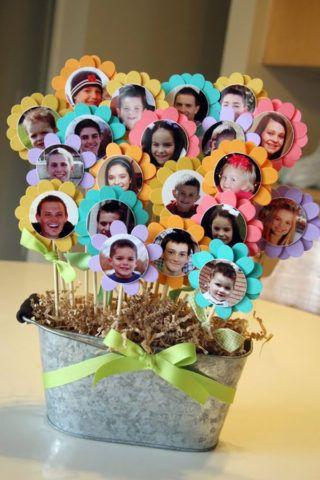 Подарок, коллаж в виде цветов с фото .