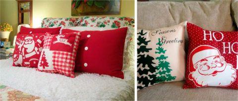 Подушки с новогодней символикой.