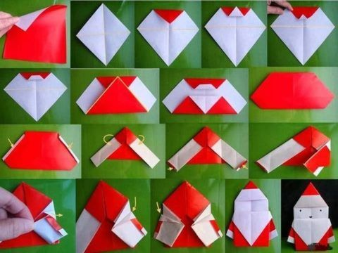 «Дед Мороз из бумаги в технике оригами».