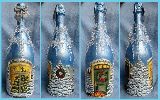 Мастер класс бутылка новый год