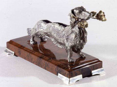 «Любимая охотничья такса», серебро, мрамор.