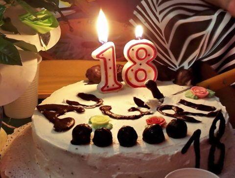 Торт ко дню рождения: 18 лет!
