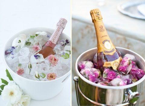 Цветы во льду и шампанское