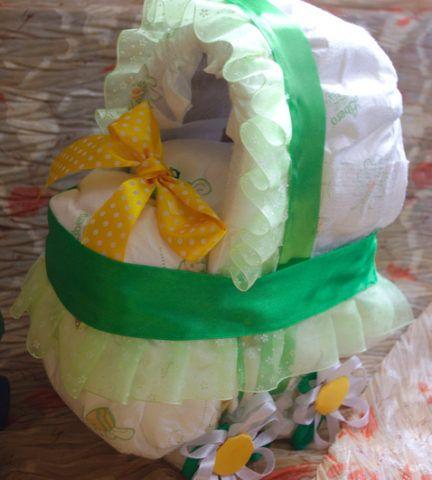 Торт из памперсов коляска своими руками пошагово