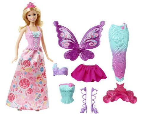 Барби и три её костюма.