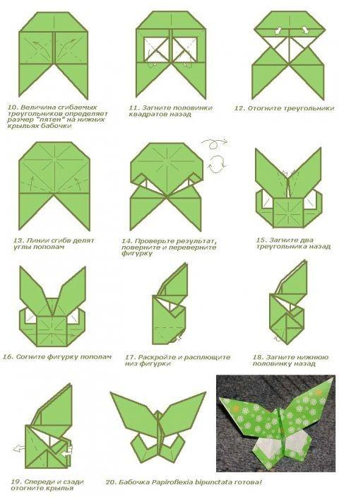 Бабочка оригами схема поэтапно