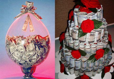 Денежные: воздушный шарик или торт