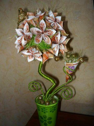 Еще один вариант искусственного растения-основы для денежного деревца