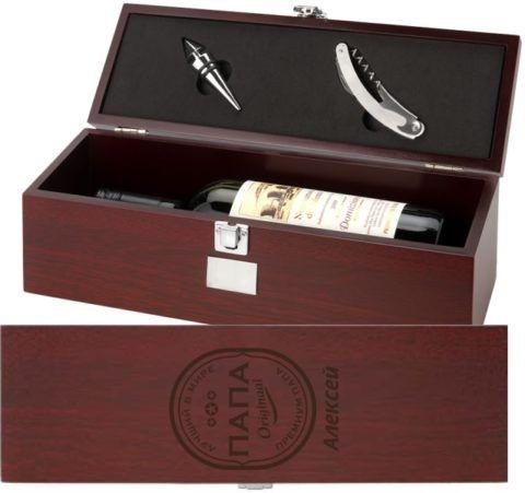 Коробка для вина с гравировкой на крышке