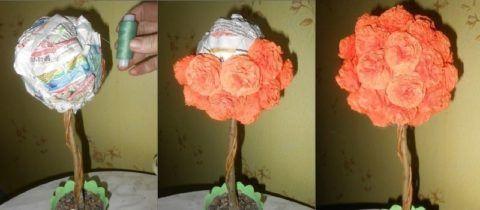 Наклейка цветов на крону.