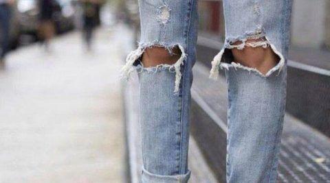 Рваные джинсы «бойфренд»