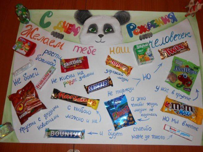 Стенгазета на день рождения своими руками с конфетами