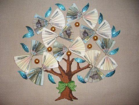 Свадебный подарок – вышитое денежное дерево