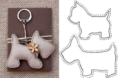 Брелок – собака, рисунок – схема.