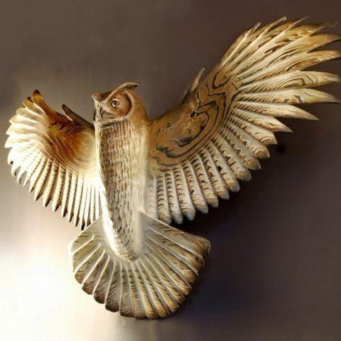 Деревянная сова – украшение интерьера