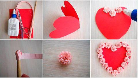 Пошаговый мастер – класс изготовления открытки в виде сердечка.