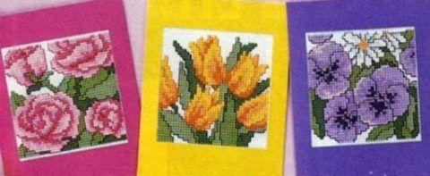Примеры открыток с вышивкой.