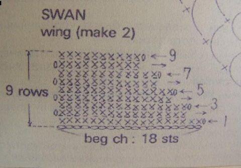 Схема вязания крылышка.