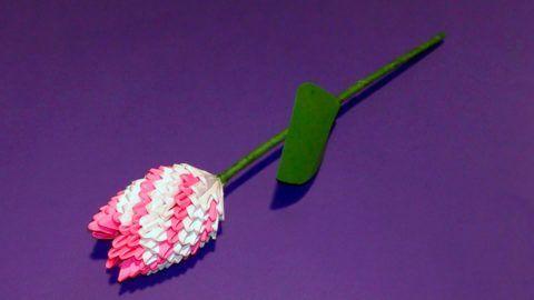 Тюльпан в стиле модульного оригами