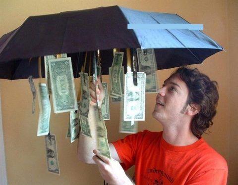Купюры должно быть видно только при раскрытии зонта