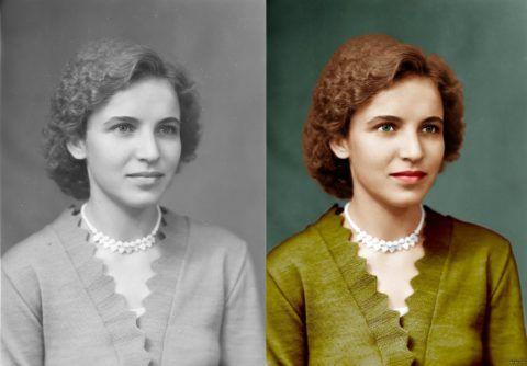 Замечательный вариант – цветной вариант бабушкиного портрета в молодости