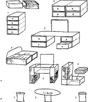 Схемы способов собрать из спичечных коробков комод,стол, кровать, диван, журнальный столик.