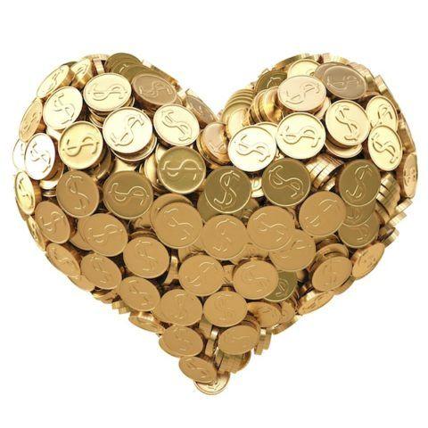 Сердце из монет, здесь главное не цена, а красота