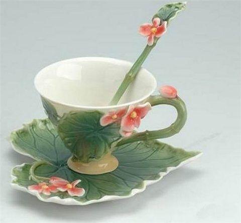 Чашка с блюдцем в растительном дизайне.