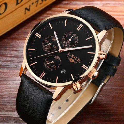 Часы со стильным и качественным кожаным браслетом.