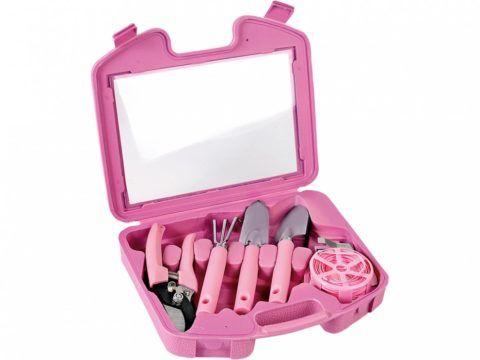 Стильный розовый набор с настоящими инструментами для сада.