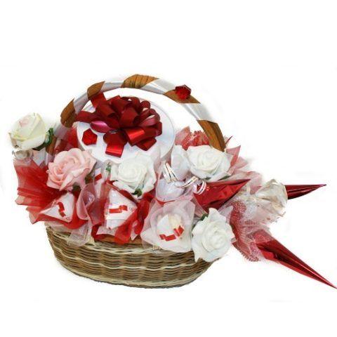 Можно вручить и обычную корзинку с красиво украшенными конфетами в ней.